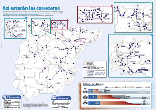 mapa carreteras invierno españa 2015